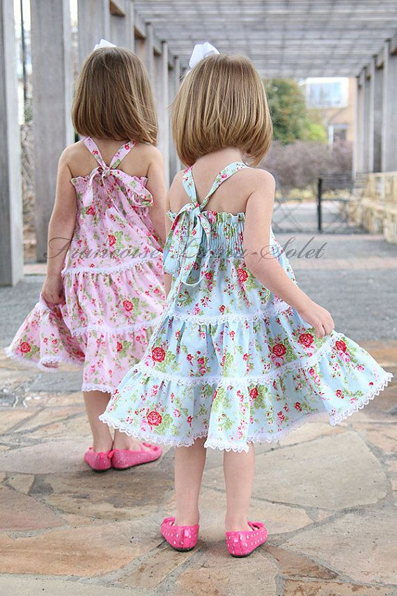 Cumpleaños azul twirl vestido país niña vestido de flores