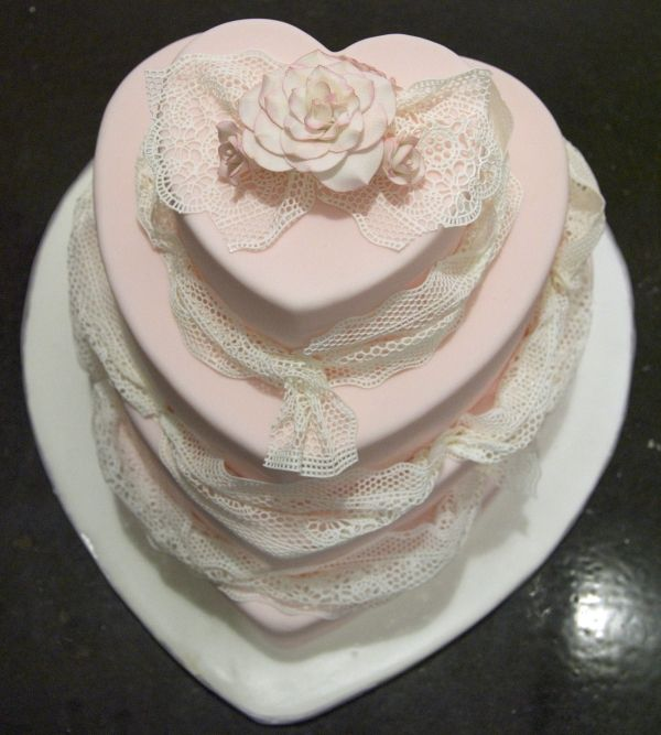 sugar veil lace pink hearts wedding cake