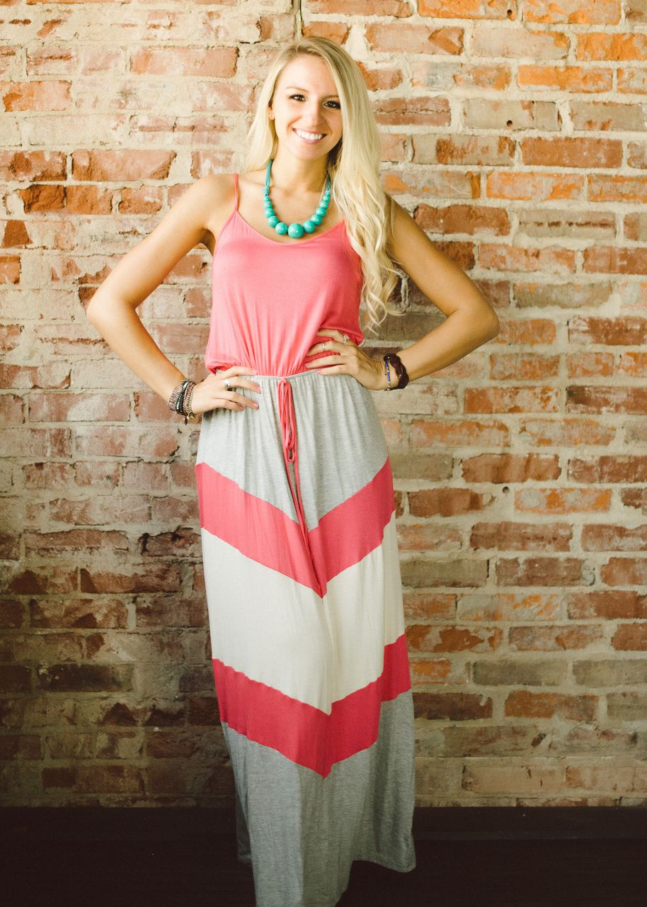 Smooth Sailing Maxi Dress (Coral) - Piace Boutique