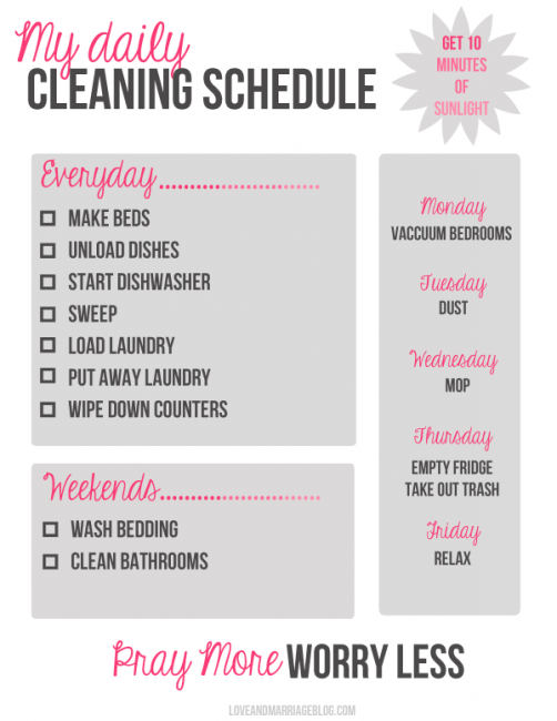 I would switch Monday and Tuesday. Why vacuum then dust? And I'd dust, vacuum (bedrooms and basement) and mop on the same day 2x (monday and thursday) a week. I'd also vacuum (the main floor and edges of bathrooms) every day, not sweep. It's necessary when you have a lot of people and pets in your household.