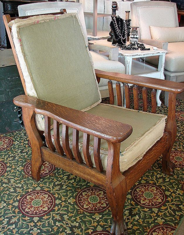 Vintage Antique Clawfoot Mission Style Morris Chair Signed with Burlap  Cushions. $325.00, via Etsy - Vintage Antique Clawfoot Mission Style Morris Chair Signed With