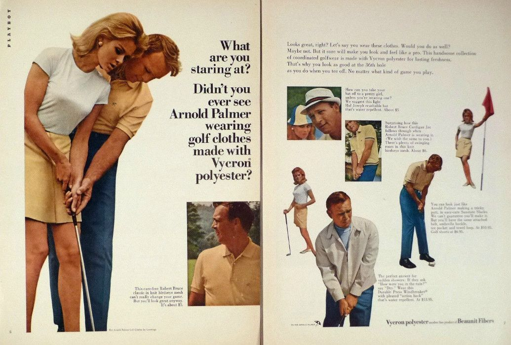 "1966 Vycron Polyester Golf Fashion Ad ""Arnold Palmer"" 
