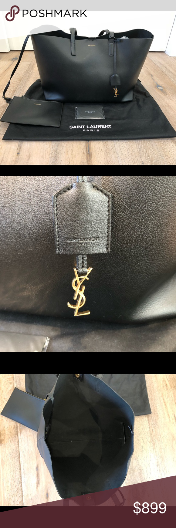 4f10d35238dc Ysl tote YSL black leather tote carried maybe 3 times (in almost brand new  conditions