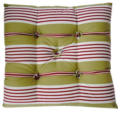 Seat Pad Cushions | Chair Cushion Pads | Striped Seat Pads | Red