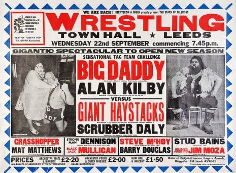 Big Daddy Giant Haystacks Wrestling Repro Poster Leeds