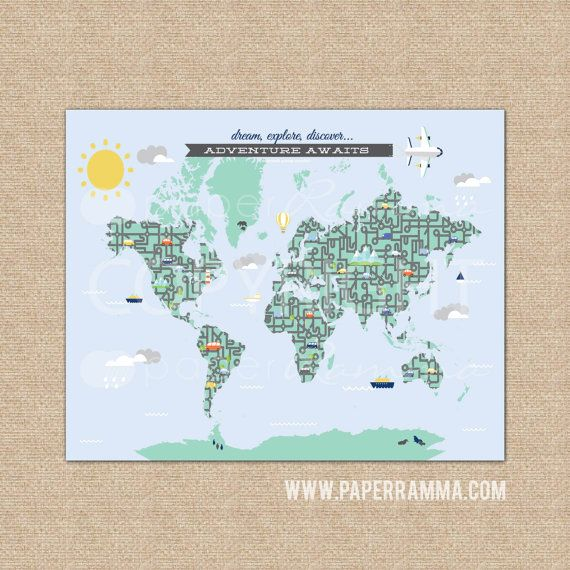 Kids world map nursery map world map wall hanging world map kids world map nursery map world map wall hanging world map poster art print or canvasn i07 1ps aa1 gumiabroncs Images
