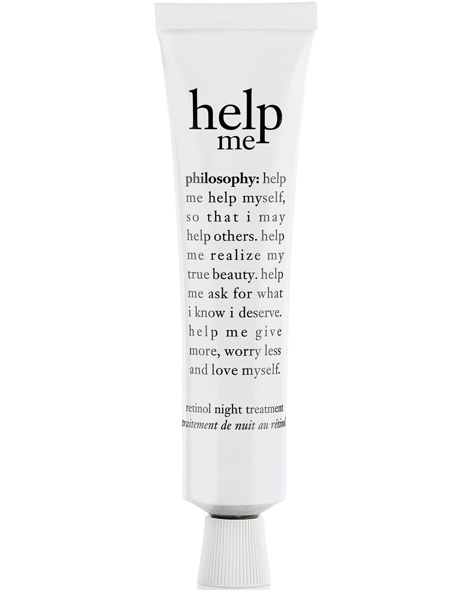 help me philosophy review This philosophy help me retinol night treatment helps minimize the look of large pores, fine lines and skin discoloration while helping to clear congested pores a patented time-release delivery system allows this retinol to be released gradually.