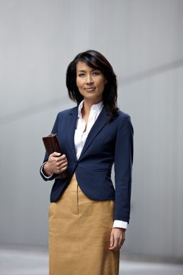 69419732f826 Interview Outfits for Women  What to Wear to an Interview Navy Blue Blazer  and a Khaki skirt
