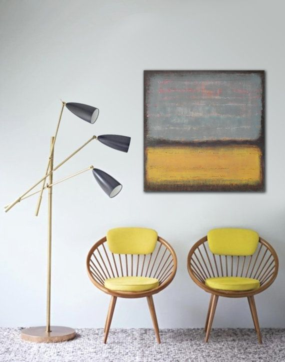 Original Abstract painting  Yellow and grey by RonaldHunter, $299.00