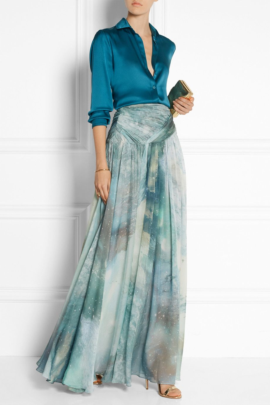 Matthew Williamson | Gathered printed silk-chiffon maxi skirt ...