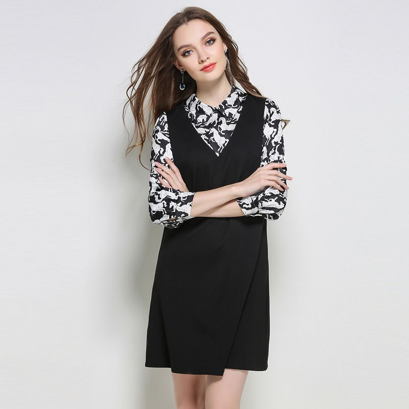 >> Click to Buy << Horse Printed Shirt Collar 2 in 1 Spliced A Line Mini Dress Plus Size Women Black Dresses l to 5xl #Affiliate
