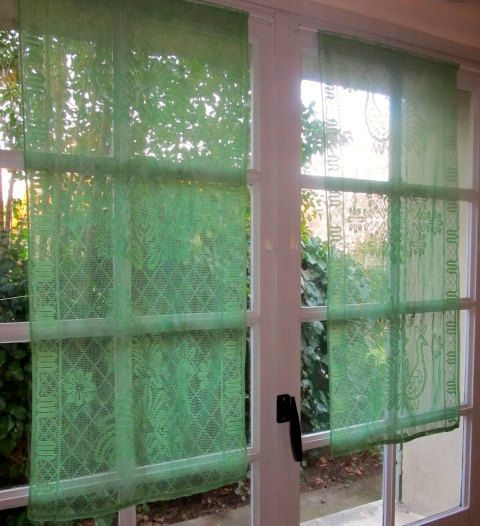 Delightful Green Lace Curtains, French Window Curtains, Peacock Kitchen Curtains,  Entryway Curtains, Country