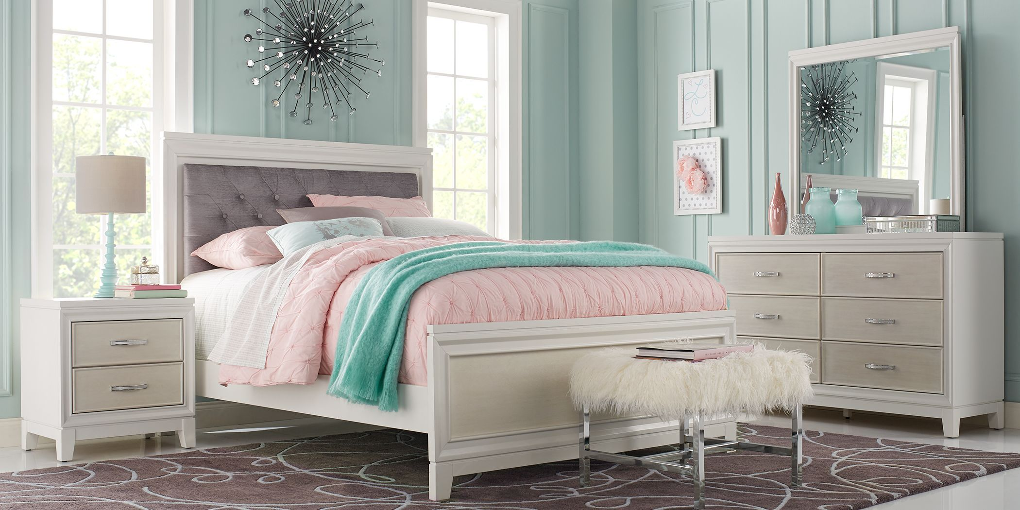 kids amelia white 5 pc twin panel bedroom | girls bedroom