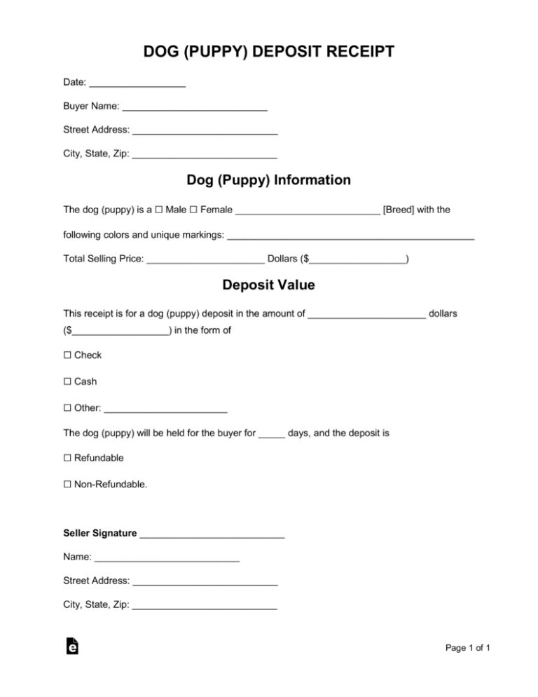 Free Dog Puppy Deposit Receipt Template Word Pdf Eforms Regarding Puppy Contract Templates 10 Pr Dog Breeding Kennels Dog Breeding Business Whelping Puppies