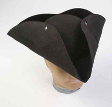 Black colonial tricorn hat george washington adult pirate for Colonial hat template