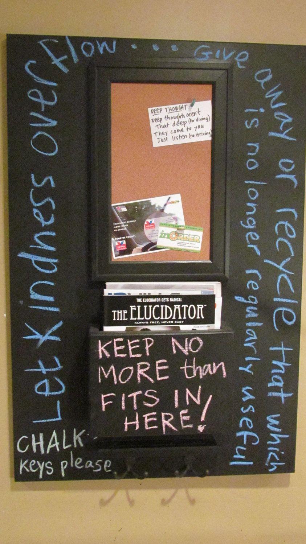 verticle magazine organizer chalkboard with corkboard and
