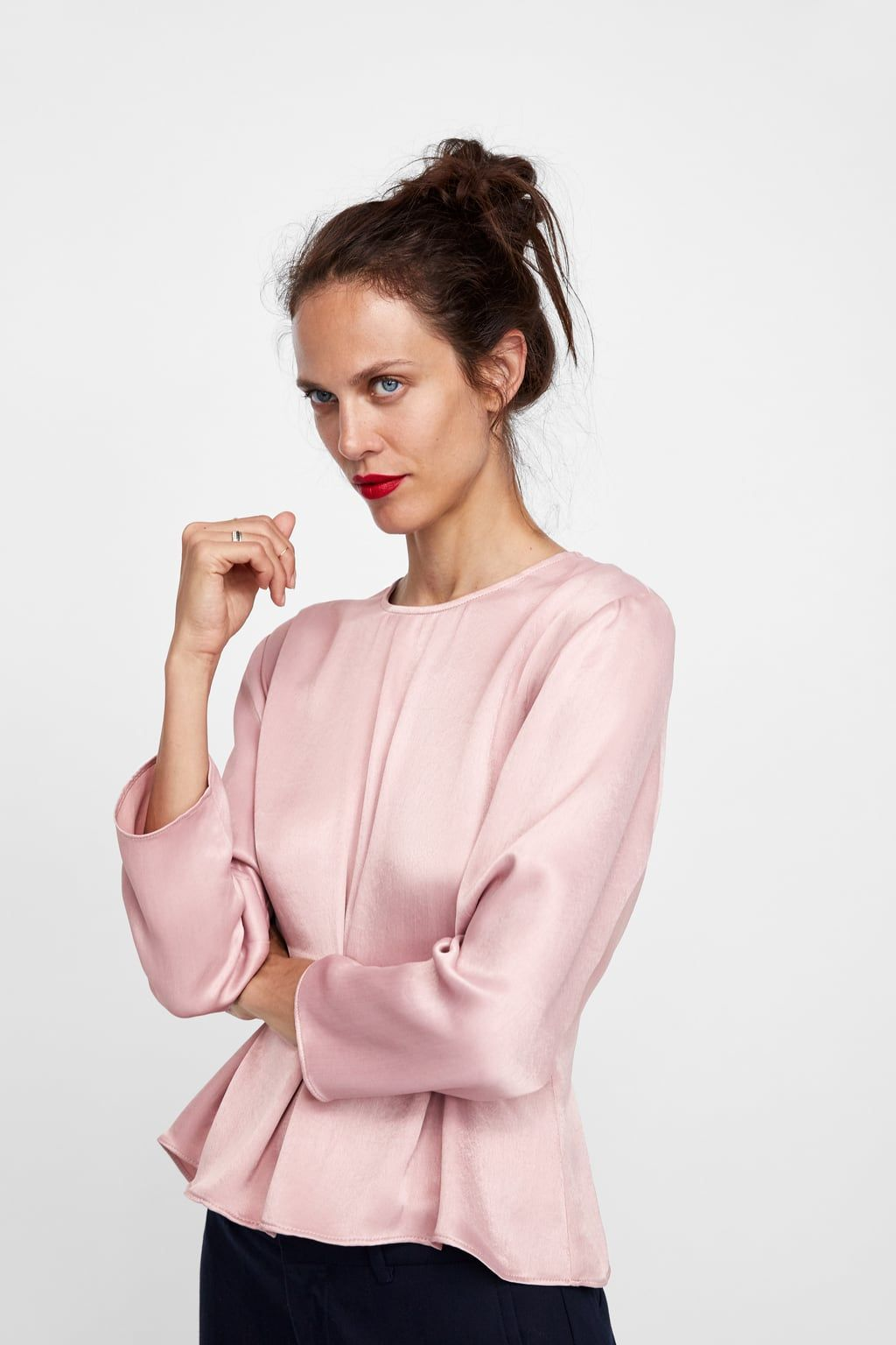 7e646e28e Image 2 of SATIN TOP WITH PLEATS from Zara | t h i n g s | Tops ...