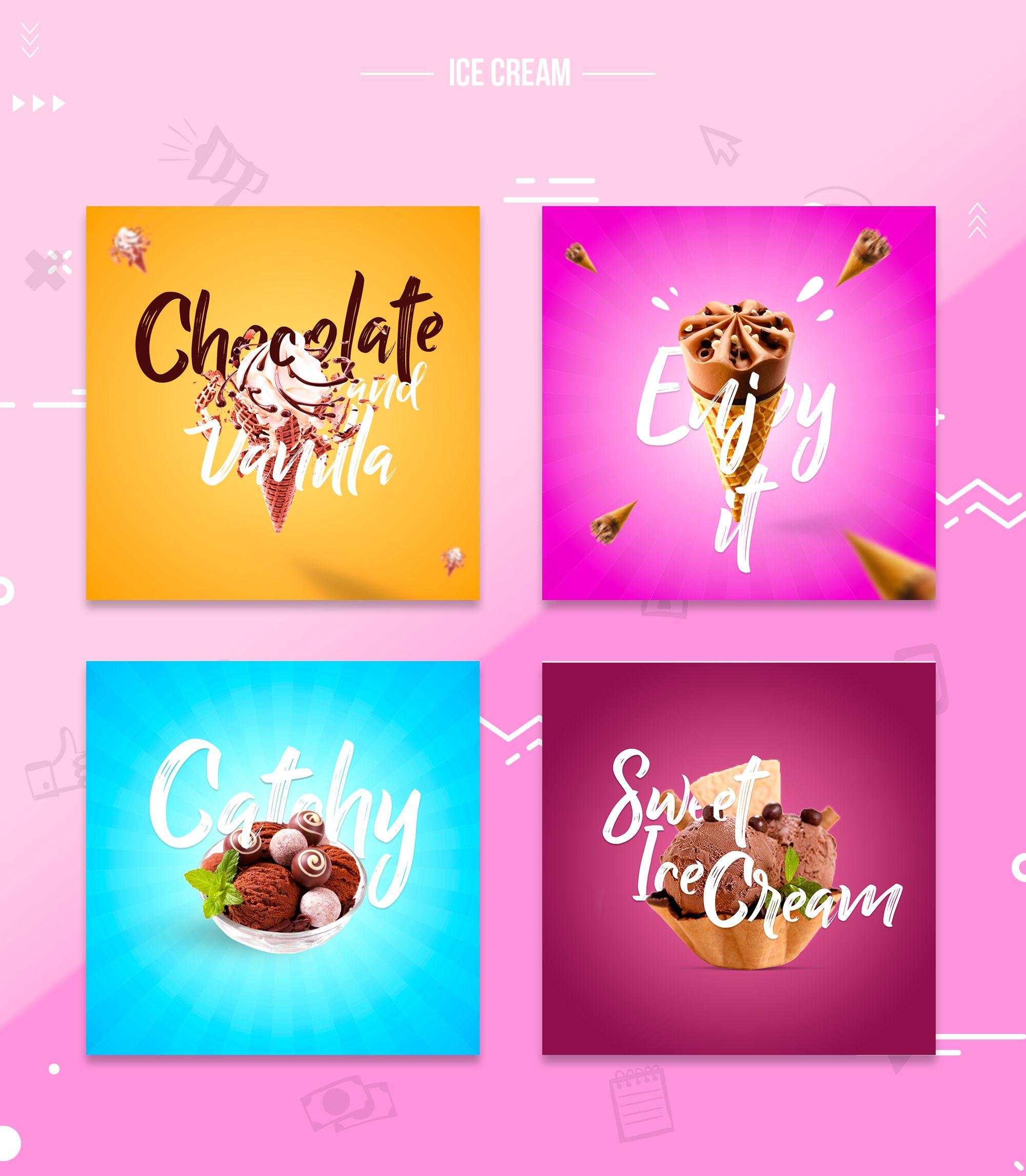 Social Media Ice Cream Posts Social Media Design Inspiration Social Media Poster Facebook Post Design