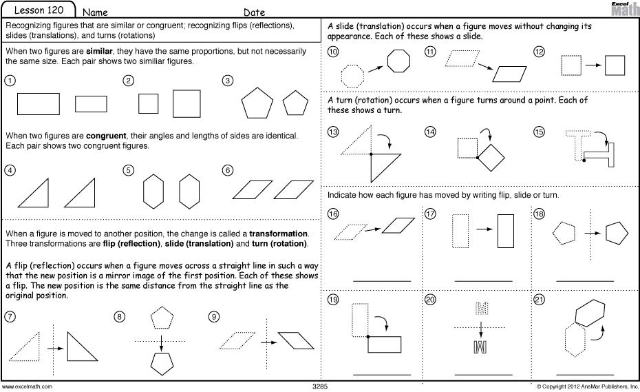 Excel Math Slide Flip And Turn Worksheet Games Mental Maths Worksheets Translations Math Math Worksheets