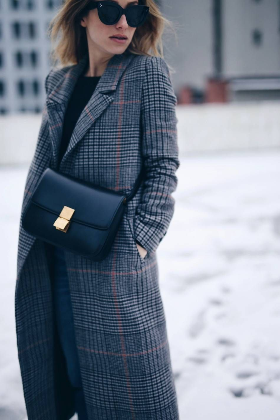 7a6125d73882 Style and beauty blogger Jill Lansky of The August Diaries in H M plaid coat  with Celine black box bag and Celine Caty sunglasses