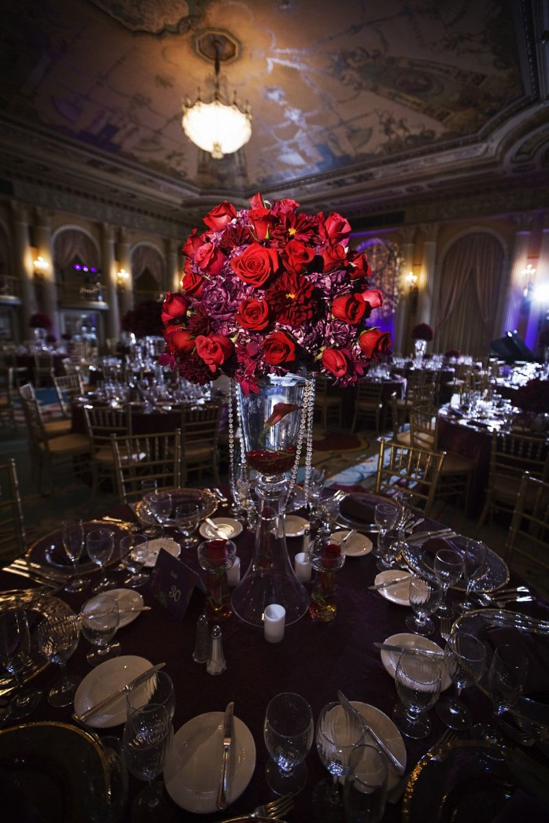 Wedding hall decoration images  Gorgeous rose centerpiece centerpiece roses red decor indian