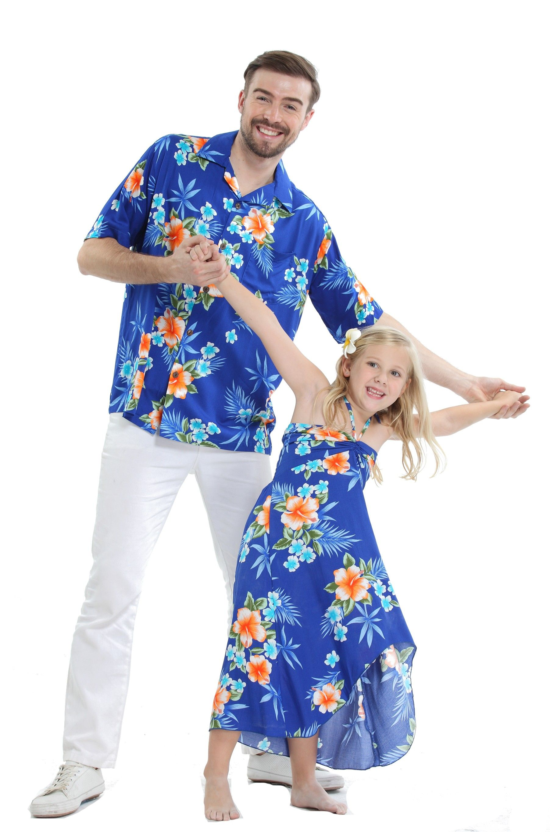 16adf0e4a Father Daughter Matching Men Shirt and Girl Butterfly Dress in Hibiscus Blue