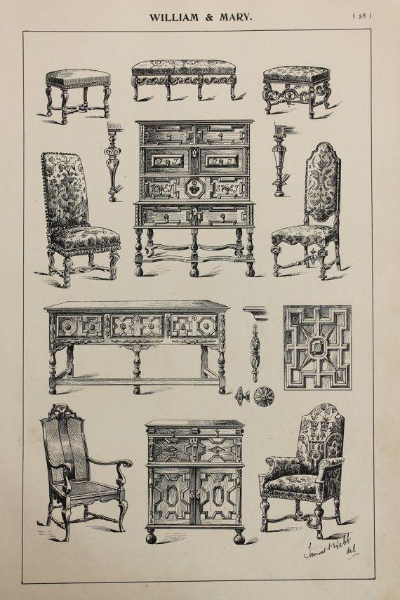 English William And Mary Furniture Designs Large Antique Black White Print Interior Design Ar William And Mary Drawing Furniture Arts And Crafts Furniture