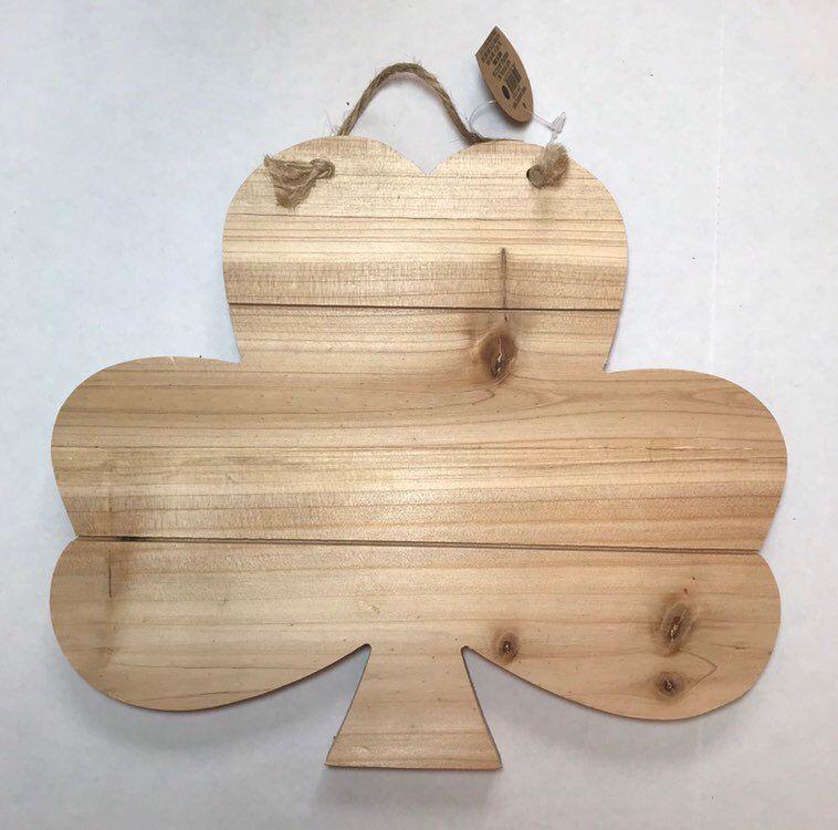 wood shamrock pallet sign, unfinished wood plaque, clover ...