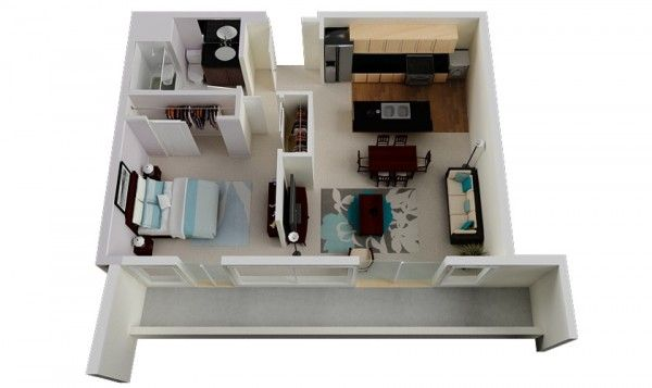 50 Plans en 3D d\u0027appartement avec 1 chambres House, Small cottages - Plan De Maison Gratuit