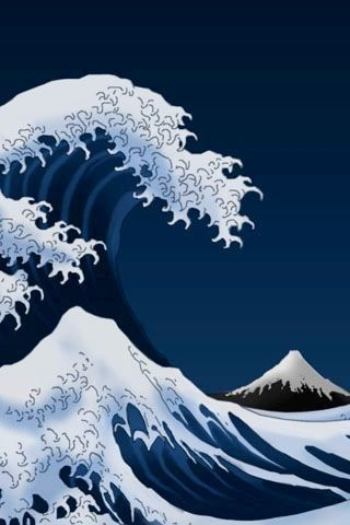 Japanese Waves Iphone Wallpapers Japanese Art Iphone Wallpaper