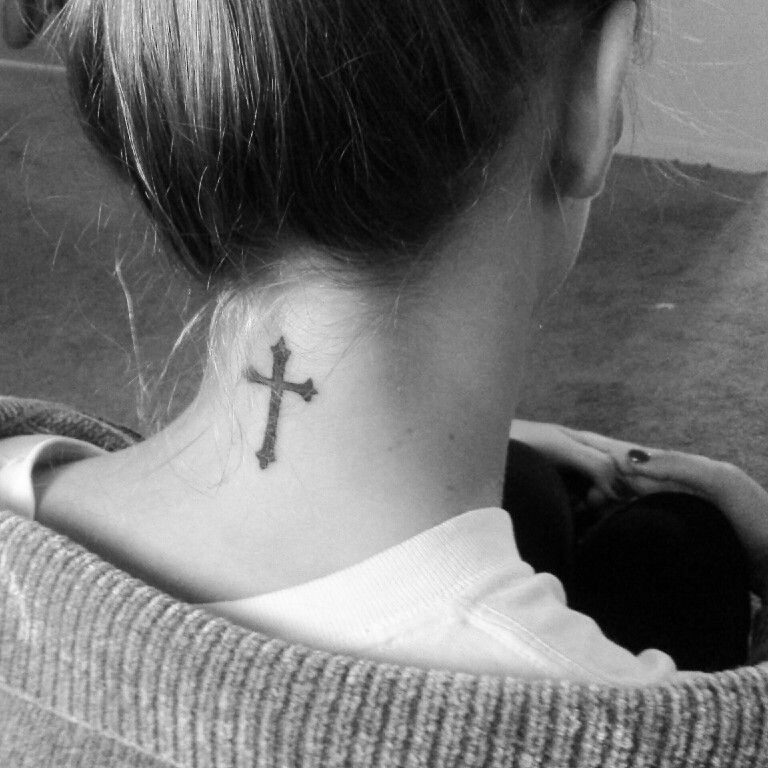 Cute back of neck cross tattoo with spirals  |Cross Tattoos For Girls On Neck