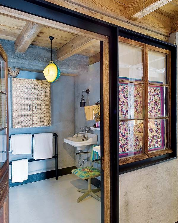 What a beautiful house - and check out this sieve-lampshade!! Alpine dream cabin in the French Mountains