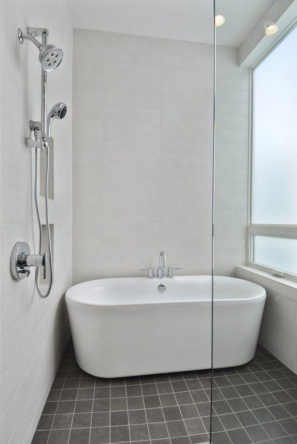 Small Free Standing Tub With Brown Stained Teak Wood Based Beside Shower Glass Stall Shower Over Bath Small Bathtub Small Bathroom With Shower