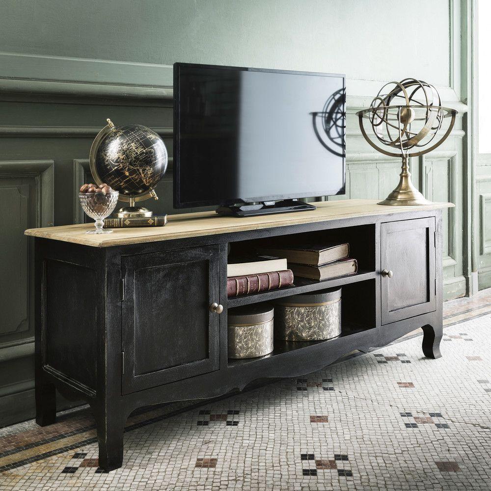 Meuble TV 2 portes Versailles en manguier noir - Meuble Tv Maisons ...