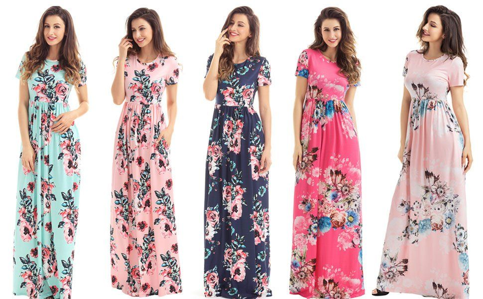 393cffab17 HOTAPEI Women's Floral Print Long Dress Short Sleeve Empire Flower Maxi  Dresses White Small at Amazon Women's Clothing store: