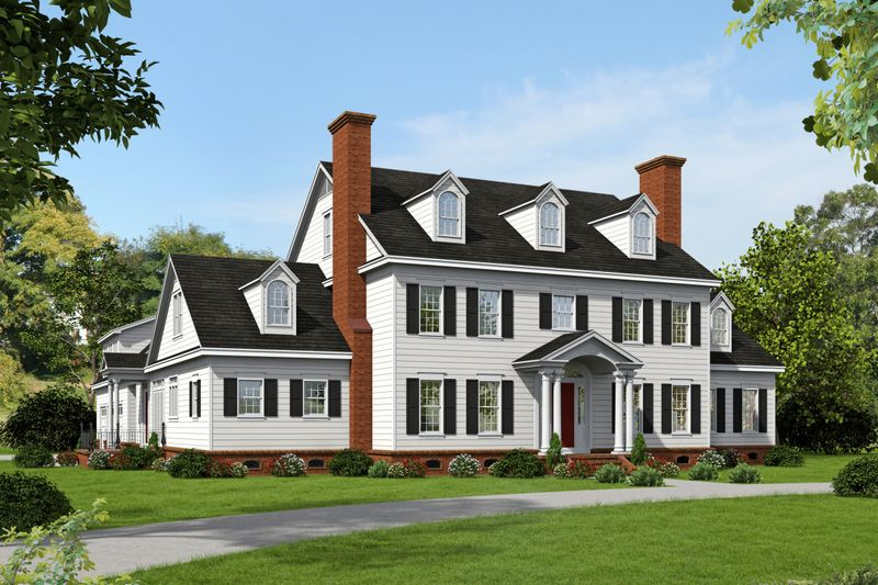 Colonial Style House Plan   6 Beds 5.5 Baths 7908 Sq/Ft Plan #932 1  Exterior   Front Elevation   Houseplans.com Design Ideas