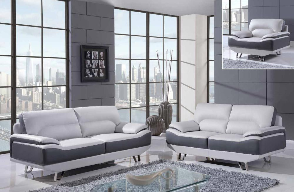 White and Gray 3 Piece Bonded Leather Sofa Set with Chrome Legs ...
