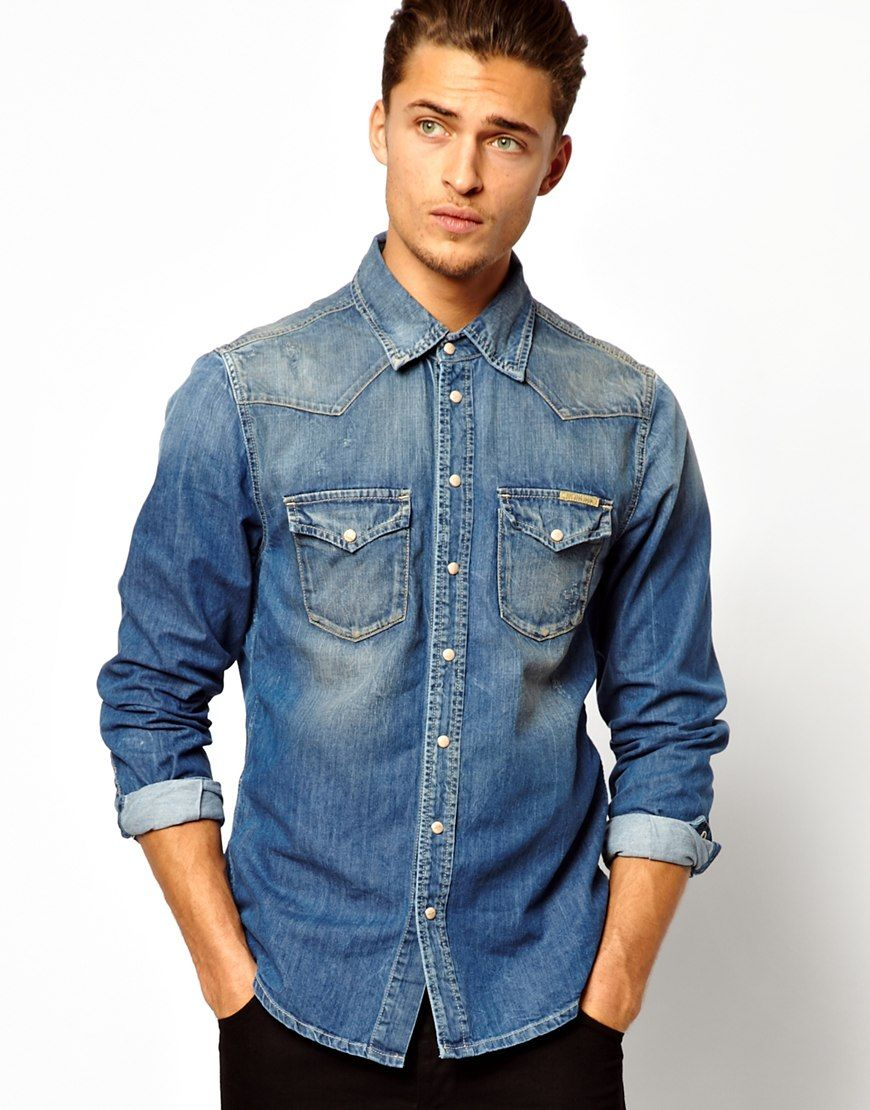 e5494b0ec64 Pepe jeans Pepe Denim Shirt Carson Mid Wash in Blue for Men
