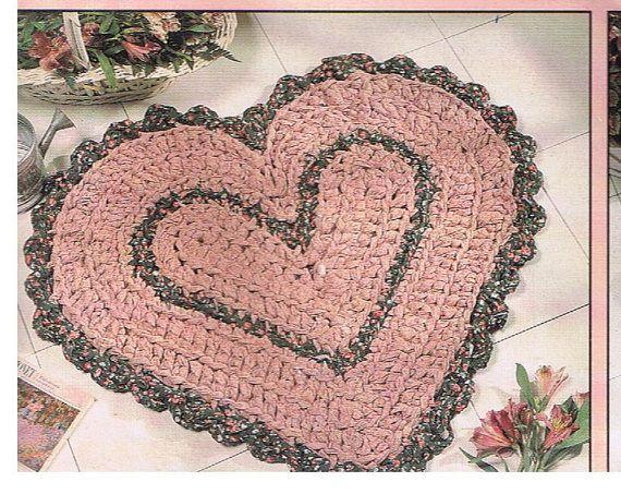 Heart Shaped Rag Rug crochet pattern on Etsy, $3.50 | Rag rugs ...