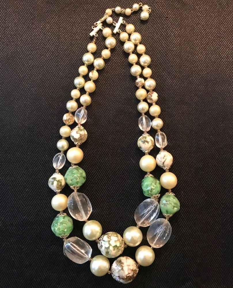 Wholesale Jewelry Japan Vintage Jewelry Necklace Mid Century Marked Japan Green