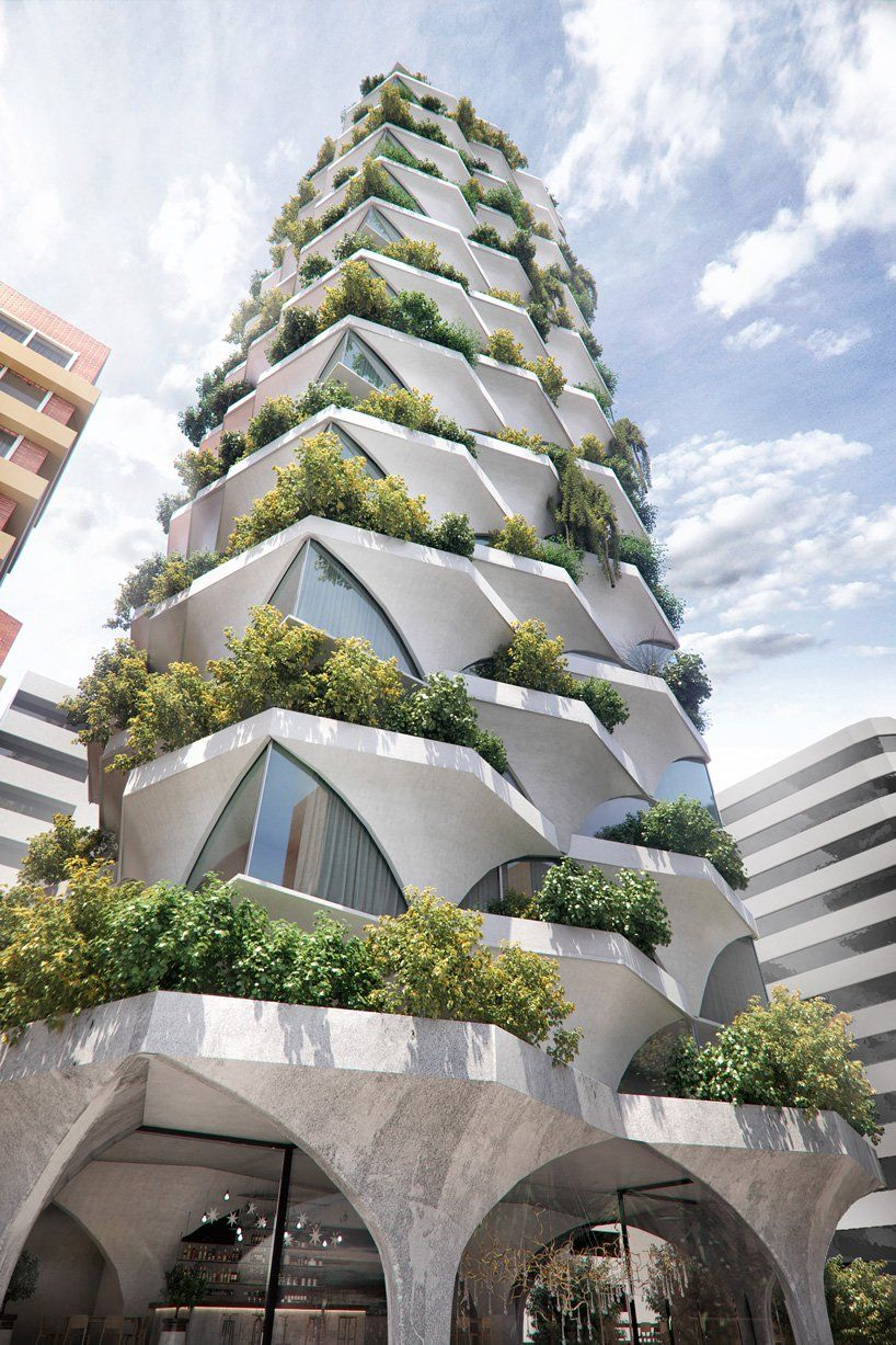 ODD architects designs sunflower-inspired tower with arched facades and 'mini forests'