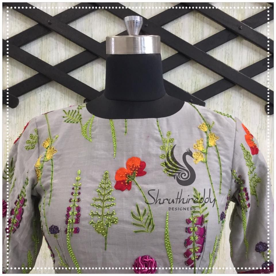 Boat neck lace wedding dress october 2018 Excellent blouse with natural painting inspired embroidery having