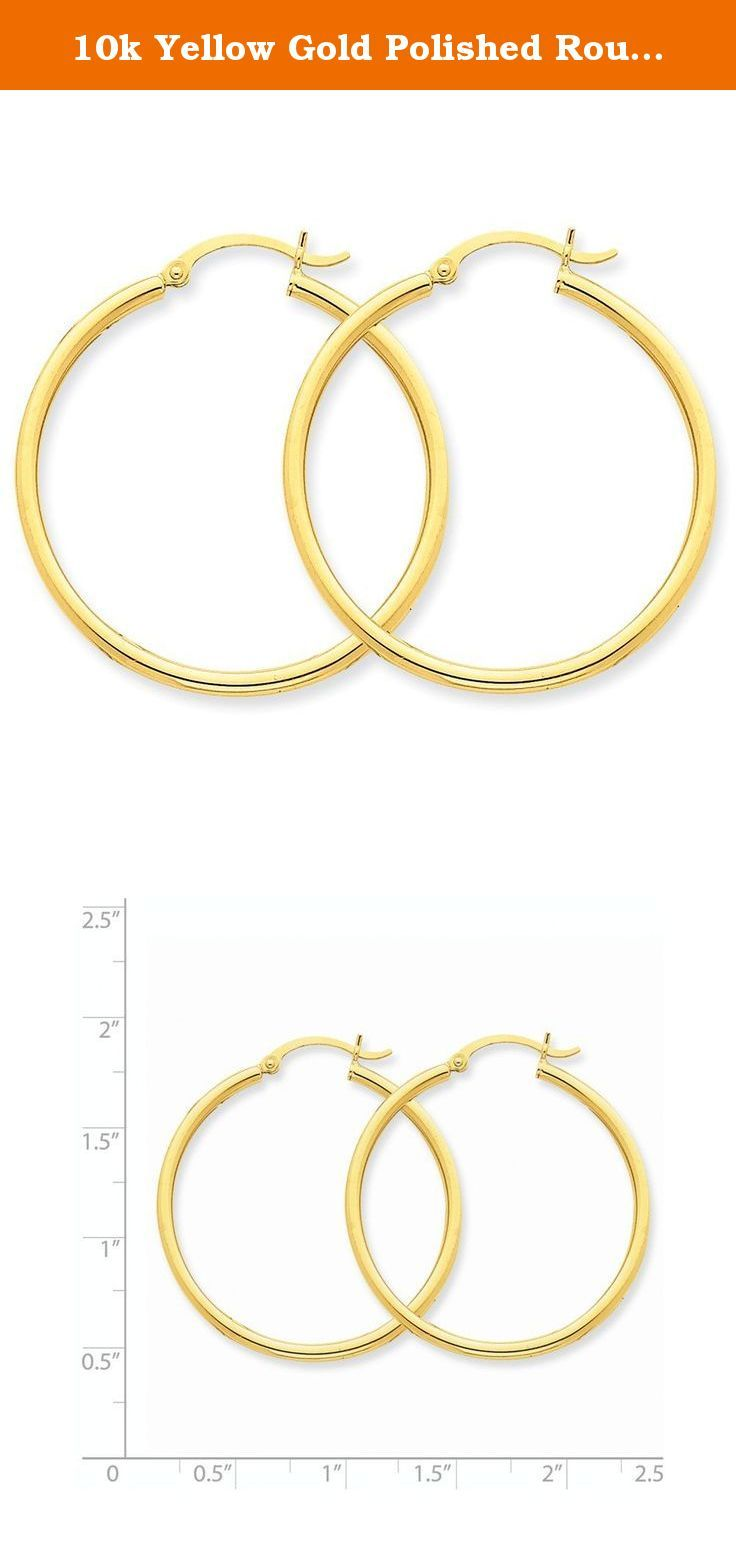 10K Yellow Gold Polished 31mm Round Hoop Earrings