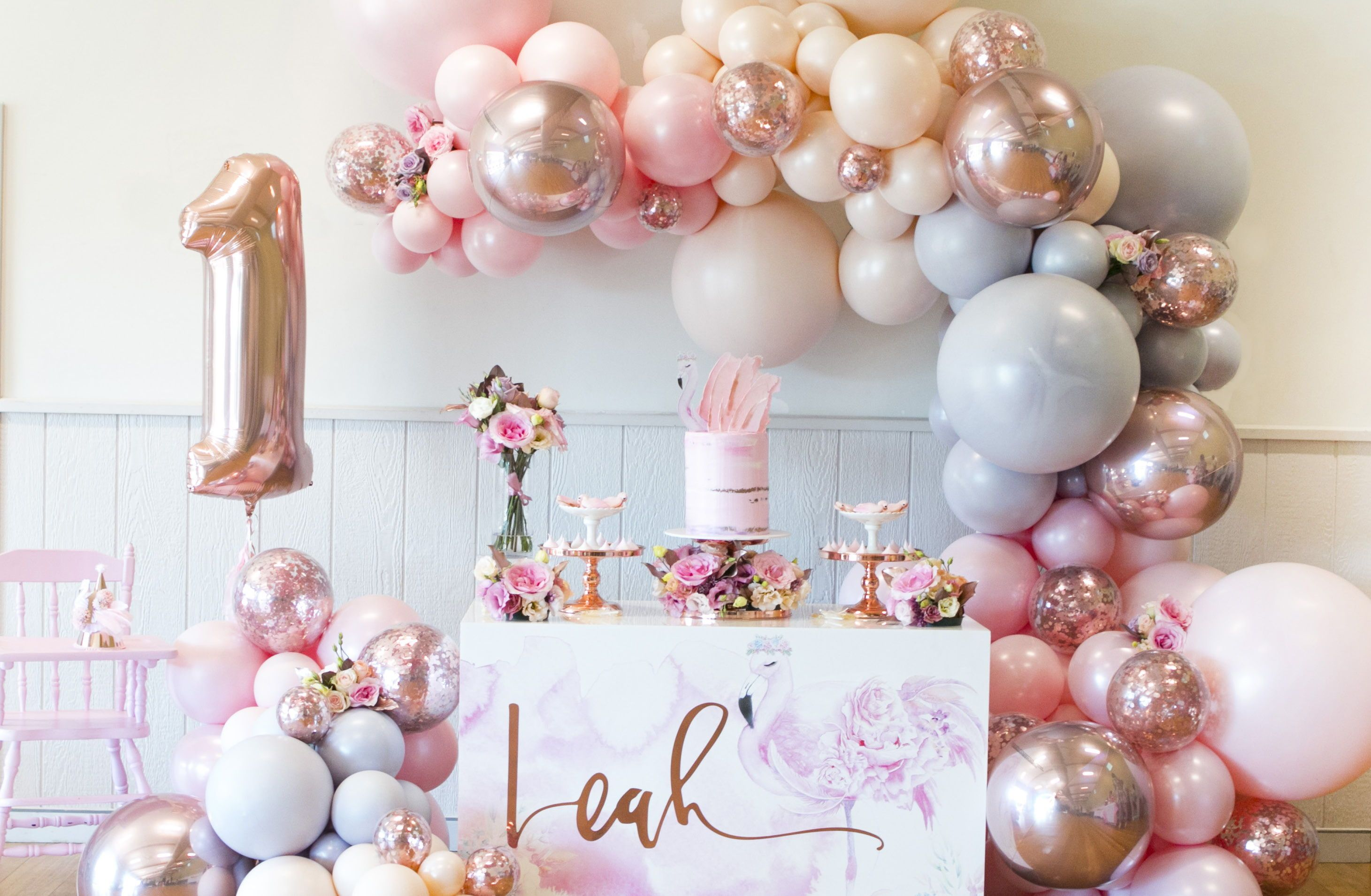 Floral Flamingo Gold Birthday Party Girl Birthday Themes