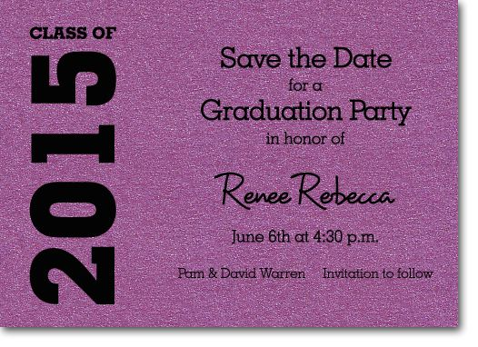 shimmery purple graduation save the date cards graduation party