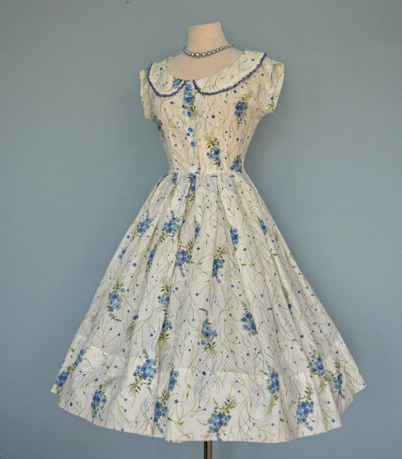 Vintage 1950s Party Dress Darling Cotton Blue And By Deomas 158 00 1950s Party Dresses Vintage Dresses Beautiful Dresses
