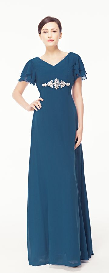 Modest Plus Size Blue Evening Dress with Sleeves | Blue evening ...