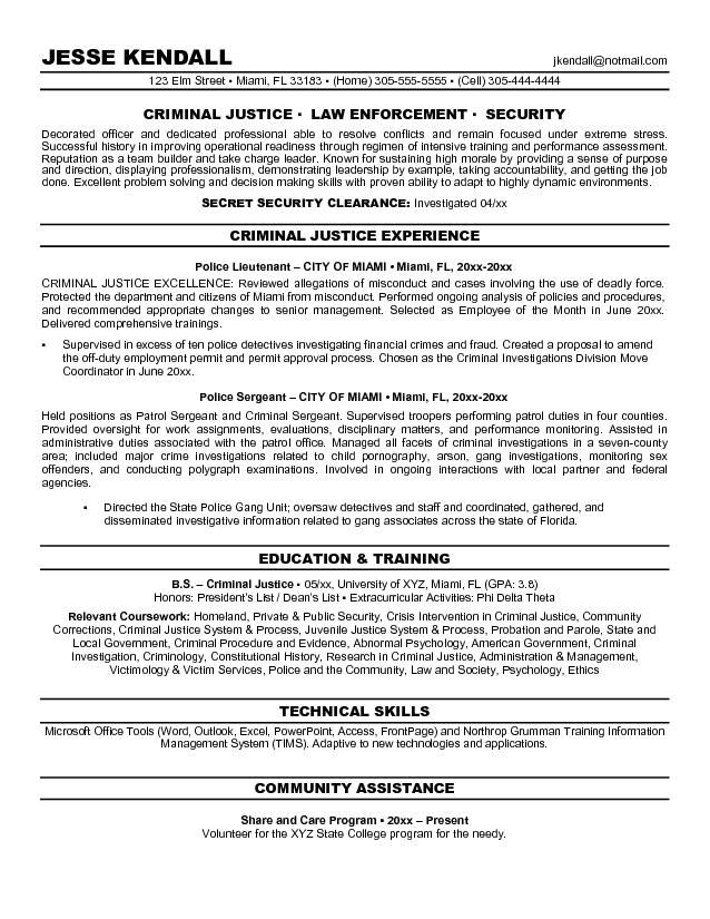 Criminal Justice Resume Objectives Resume Sample LiveCareer