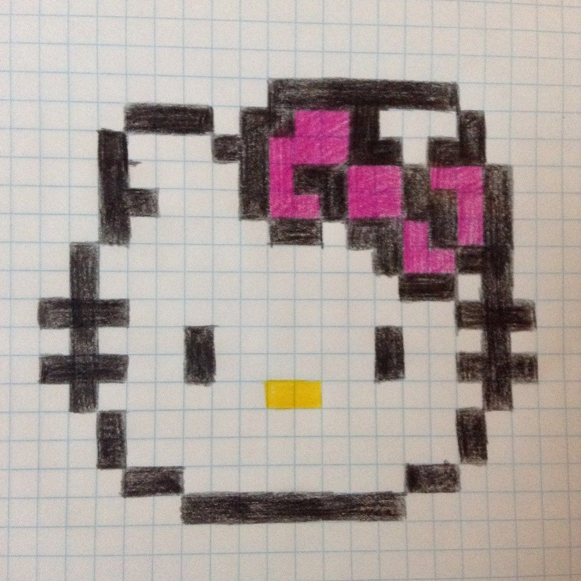 Drawing Lines With Pixels : Hello kitty pixel drawing comment and like if you want