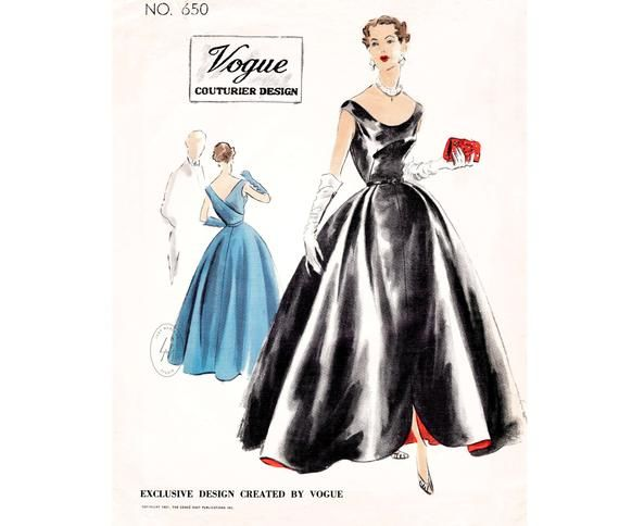 Vintage Sewing Pattern 1950s 50s Evening Dress Ball Gown Etsy Vintage Dress Patterns 1950s Dress Patterns Ball Gowns Evening